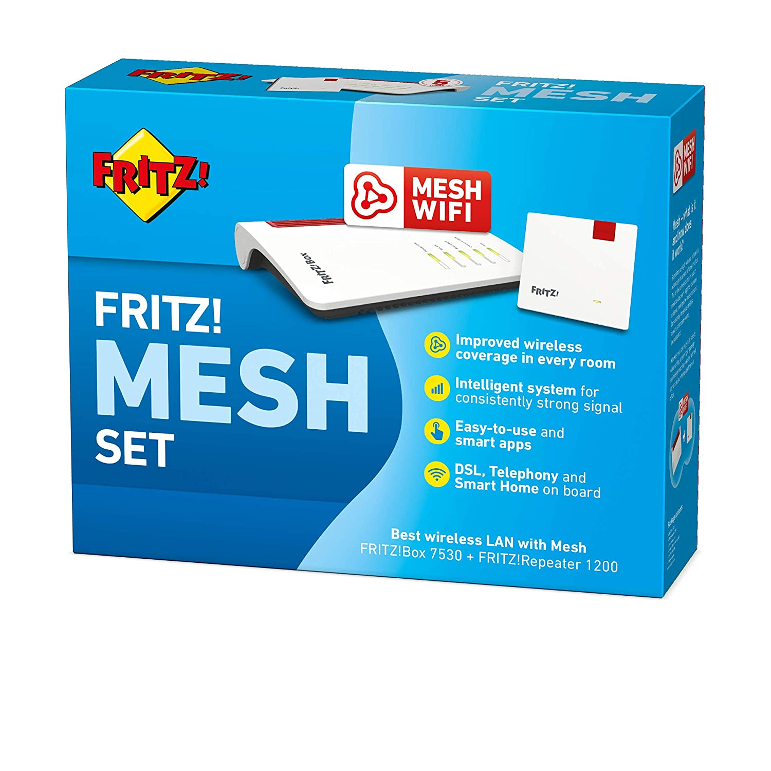 Fritz!Box 7530 and Fritz!Repeater 1200, Dual-WLAN AC up to 866 Mbps 5 GHz , up to 300 Mbps through VDSL Supervectoring 35b 2.4 GHz AVM Fritz!Mesh Set International and N up to 400 Mbps