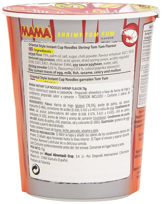 Mama - Shrimp Tom Yum Cup - Fideos orientales sabor a camarón - 70 g: Amazon.es: Alimentación y bebidas