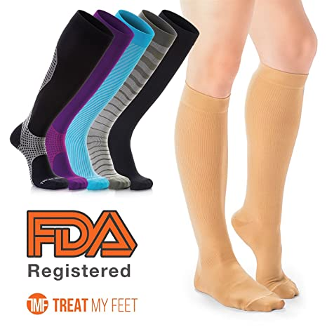 83e0c6d9f0 Medium , Beige : Compression Socks for Men & Women - Knee-high compression  stockings relieve calf, leg & foot ...