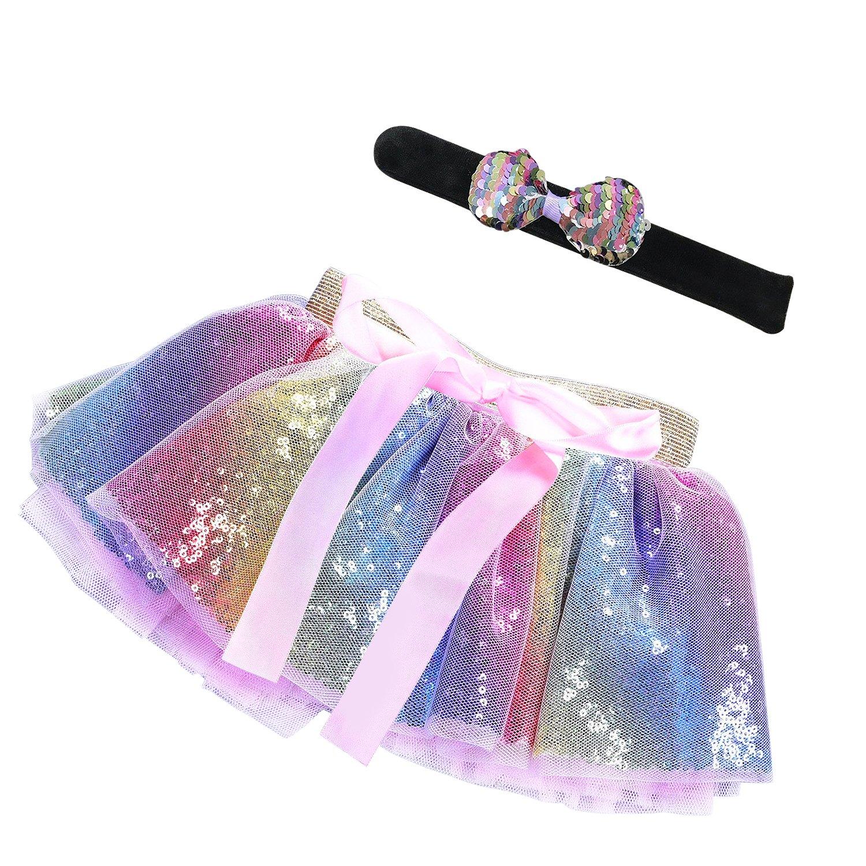 MMTX Skirts for Little Girls Gift with Sequin Bracelet,Sequin Skirt Princess for Dance Party
