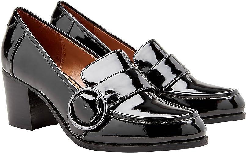 next Mujer Zapatos Estilo Mocasines De Charol De Tacón Ancho ...
