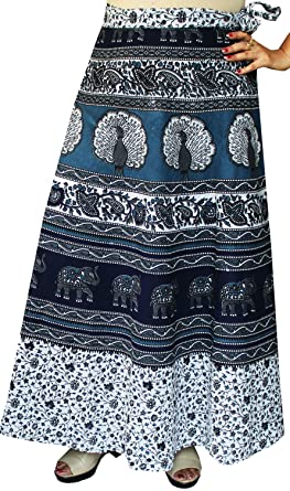 43832f18c Long Cotton Women's Wrap Around Skirts from India (Blue) at Amazon Women's  Clothing store: