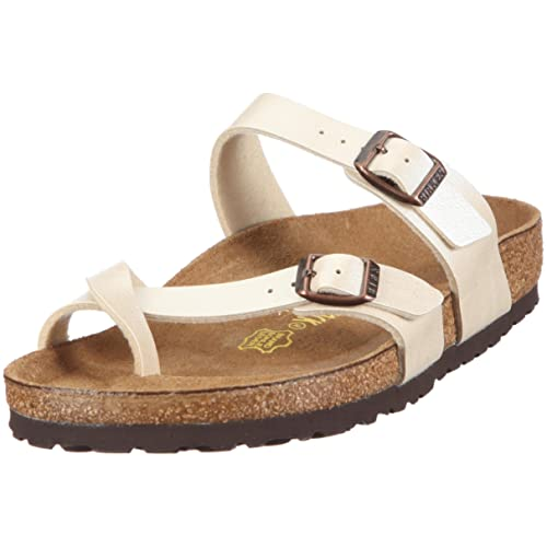 56fd2a500bf Image Unavailable. Birkenstock Womens Mayari Graceful Pearl White  Birko-Flor Sandals ...