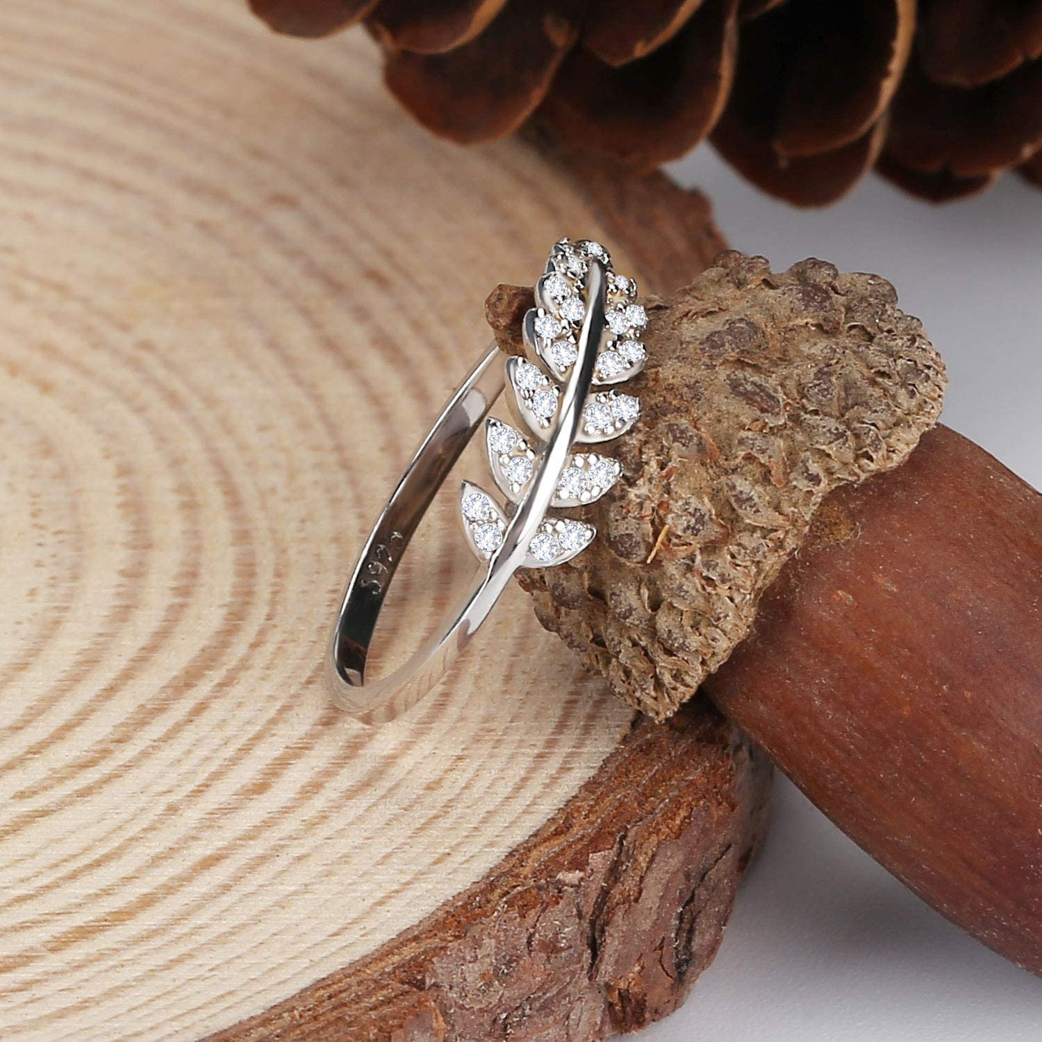 Lancharmed 925 Sterling Silver Olive Leaf Open Cuff Ring Promise Engagement Tail Rings Paved CZ Stones Wrap Gifts for Bridesmaid Bride Women Girls Teens