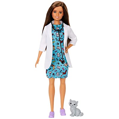 Barbie Pet Vet Brunette Doll with Career Pet-Print Dress, Medical Coat, Shoes and Kitty Patient for Ages 3 and Up ​, Multi: Toys & Games