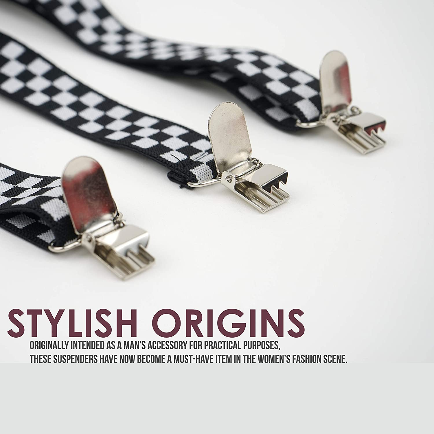 Comfortably Adjustable Elastic Straps and Metal Clips Y Back Style Action Ward Womens Suspenders Black 1 Width