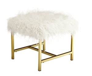 Ashley Furniture Signature Design - Elissa Accent Stool - Contemporary - White Fax Fur - Gold Metal Legs