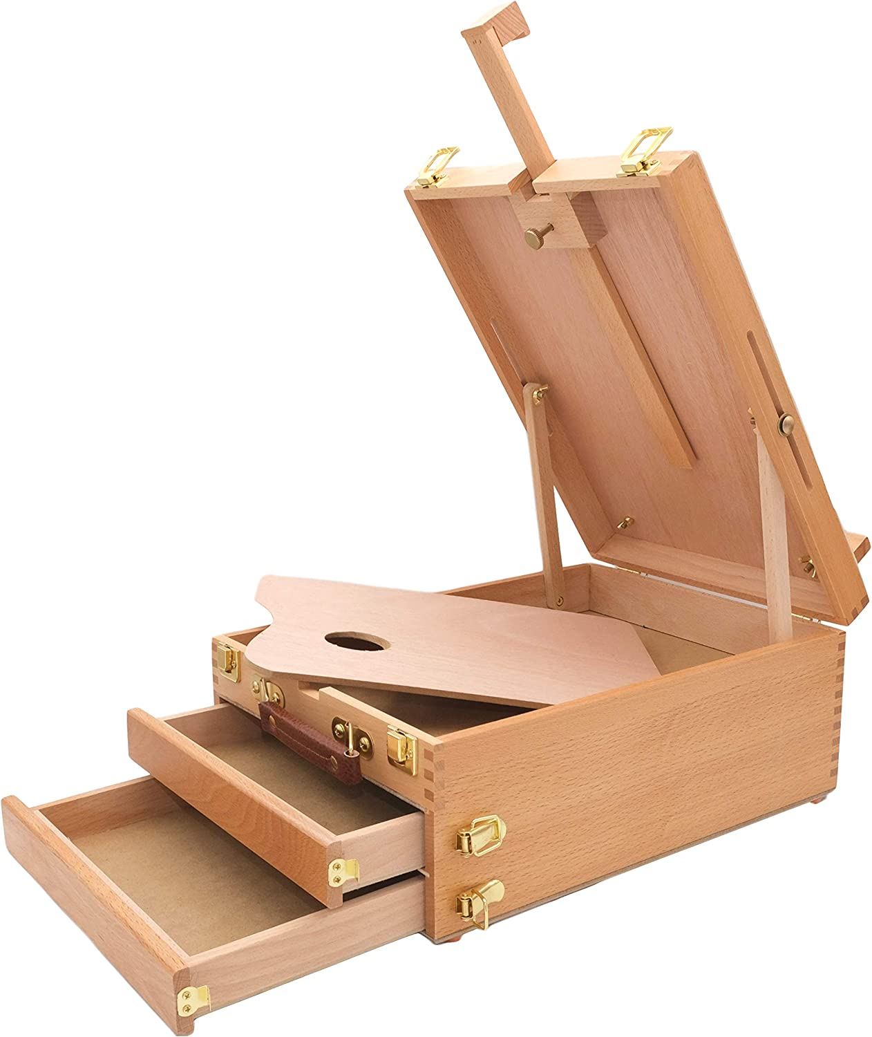 MEEDEN Artist Tabletop Sketchbox Easel -Multi-Function Adjustable Beech Wood Sketch Box with 2-Drawers and 1-Paint Palette for PleinAir Artist, Art Students and Beginners