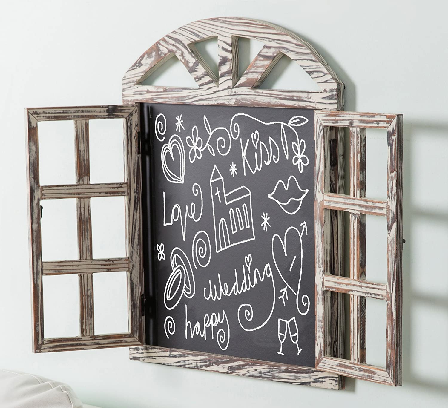 Wall Mounted Whitewashed Brown Wood Windowpane Design Chalkboard Sign with Folding Shutter Doors MyGift BHBUKPPAZINH1520