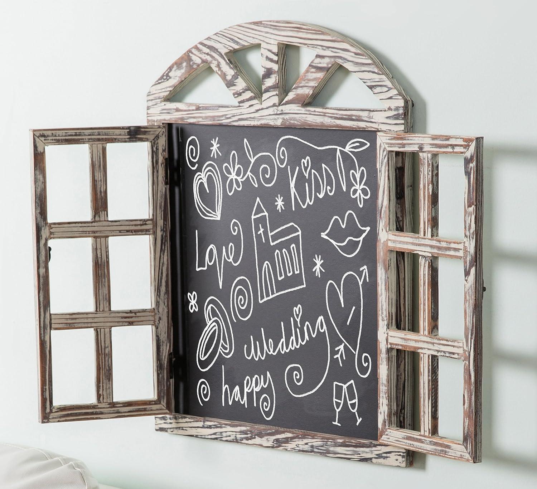 Wall Mounted Whitewashed Brown Wood Windowpane Design Chalkboard Sign with Folding Shutter Doors MyGift BHBUKPPAZINH1520