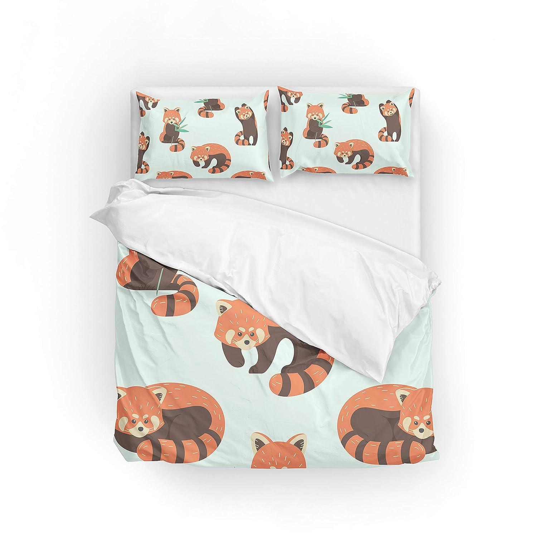 My Daily Cute Red Panda Duvet Cover Set 2 Piece Microfiber Polyester Pillowcase Quilt Kids Bedding Set Twin