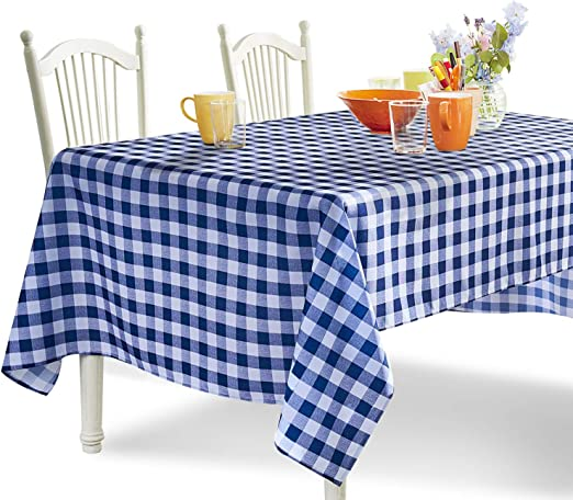 "NEW Yellow Orange Red Green Purple Blue Check Vinyl Tablecloth 60/""x 84/""-Oblong"