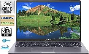"2021 Flagship 15.6"" FHD ASUSLaptop VivoBook, Intel i3-1005G1 up to 3.4GHz (Beats Intel i5-7200U), 12GB RAM, 128GB PCIe SSD,HD Webcam,backlit keyboard, Fingerprint Reader,WiFi, Win10 S,w/Marxsol Cables"