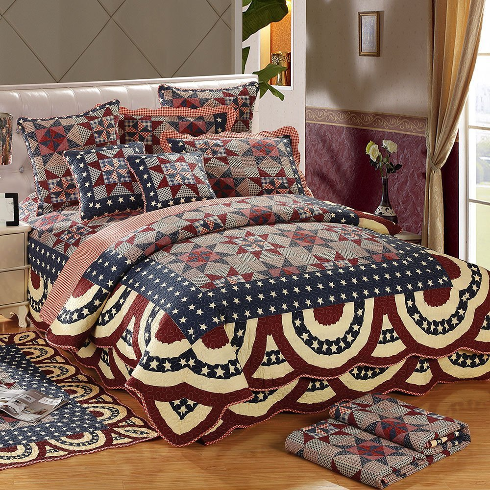 AMWAN Geometric Patchwork Quilt Coverlet Bedspread Set Queen Size 100% Cotton Reversible Quilt Set Vintage Luxury Bed Quilt Winter Warm Quilt Set for Kids Adults, Ultra Soft, Style3 by AMWAN