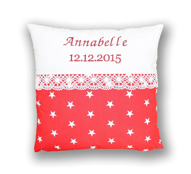 Amilian® Kissen 40 x 40 cm mit Namen Datum Sternchen Weiß auf Rot Amilian®