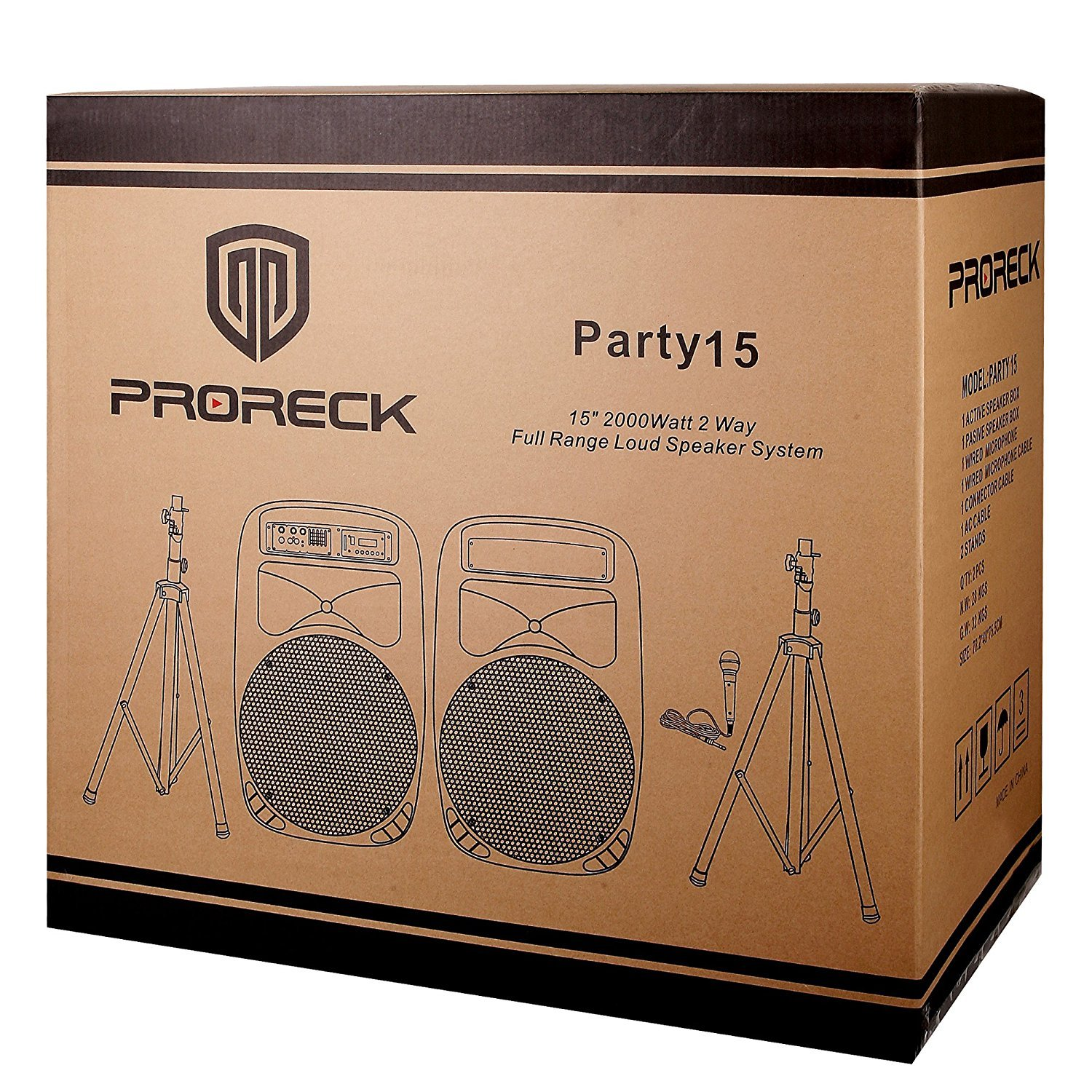 PRORECK PARTY 15 Portable 15-Inch 2000 Watt 2-Way Powered PA Speaker System Combo Set with Bluetooth/USB/SD Card Reader/ FM Radio/Remote Control/LED Light by PRORECK (Image #7)