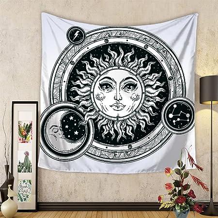 Bohemia Hippie Yoga Sofa Manteles Cortina Decoración Tapiz Pared,Chickwin Creativo Decoración Tapices Estilo Sol y luna Impreso Tapicería Cubierta ...