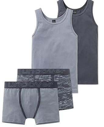 59a4921eef Schiesser Jungen Teens - Unterwäsche Set Unterhemd + Shorts aus der Serie  Illusion Blaugrau (152
