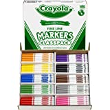Crayola 200 Ct Fine Line Markers, 10 Assorted Colors (58-8210)