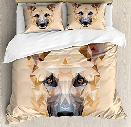 Pastor alemán de edredón por lunarable, poligonal animales diseño europeo perro retrato con triángulos,