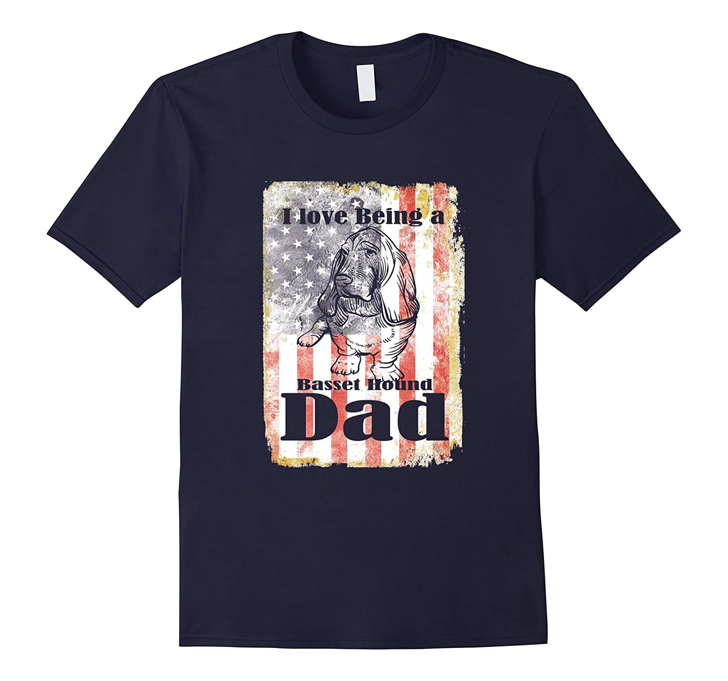 Mens American Flag USA Patriotic Basset Hound Dad 4th July Shirt-ah my shirt one gift