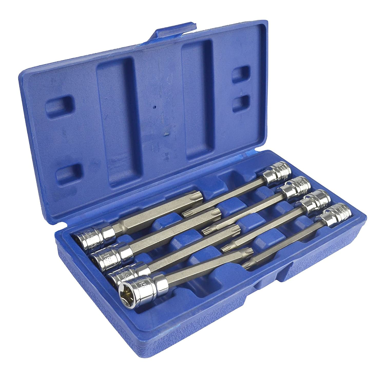 3/8' Drive Tamper Torx Star Bit Sockets T25 - T60 Extra Long By BERGEN AT569 AB Tools