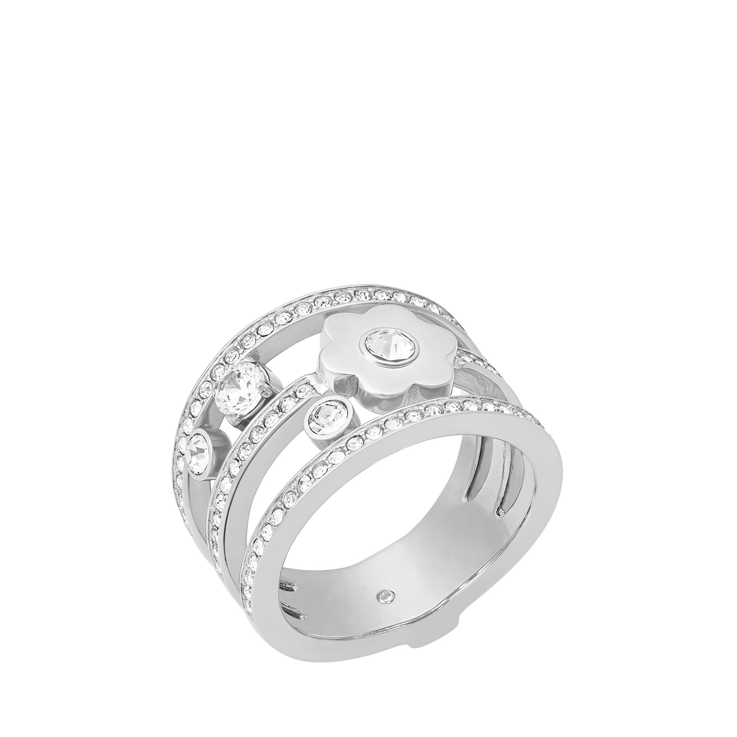 Michael Kors Womens Silver-Tone Flower Ring, 6