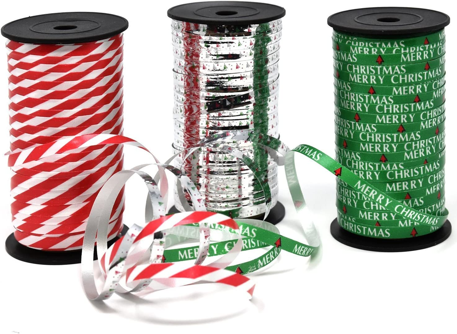 Christmas Curling Ribbon Pack of 3 Rolls Green, Red & White Stripes, and Metallic Silver; Holiday Party Crafts Supplies Decorations- 100 Yards Per Roll - Total of 900 Feet; by Gift Boutique