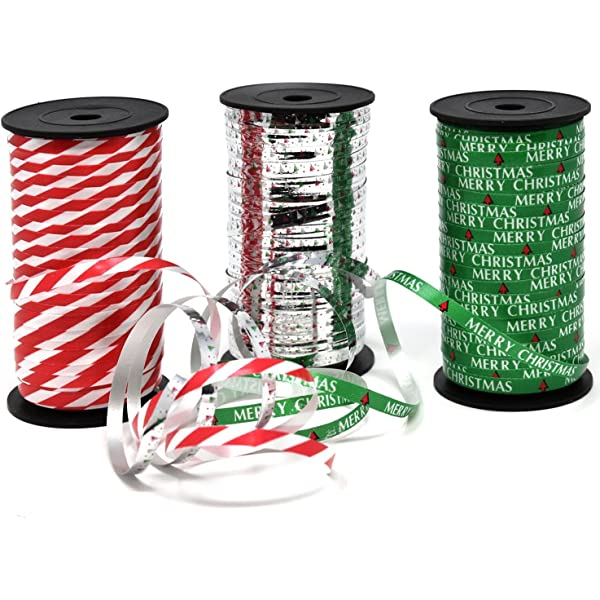 Amazon Com Christmas Curling Ribbon Pack Of 3 Rolls Green Red White Stripes And Metallic Silver Holiday Party Crafts Supplies Decorations 100 Yards Per Roll Total Of 900 Feet By Gift