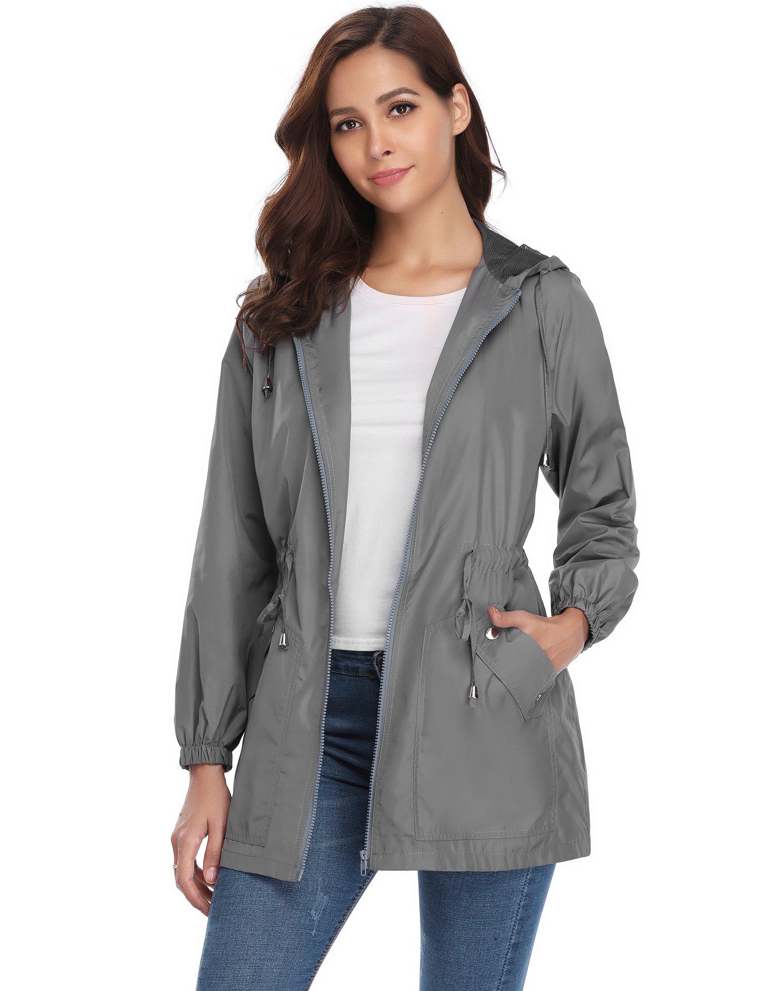 iClosam Women Rain Jacket Women Outdoor Hooded Waterproof Lightweight Raincoat Windbreaker