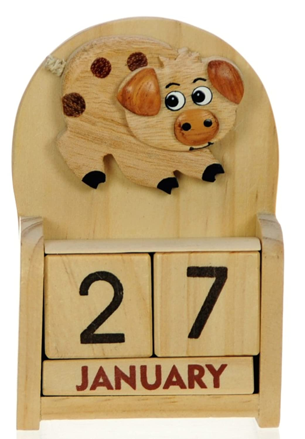 Namesakes Cute Pig Desk Calendar - Fun farm Piggy Ornament – Everlasting Gift - Perpetual Advent with wooden Month Blocks & Date - Christmas Stocking filler for children – Size 10.5 x 7 x 3.5cm All My Gift Ideas