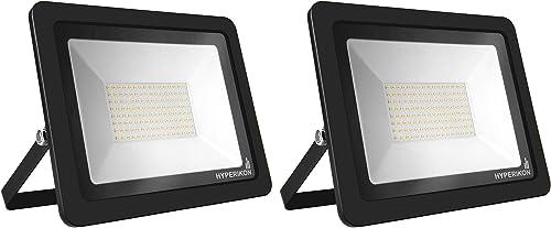 Hyperikon Outdoor LED Flood Light 100W 750-1000 Watt Equiv Rotatable Mount, 5000K, 110V, IP65, 2 Pack