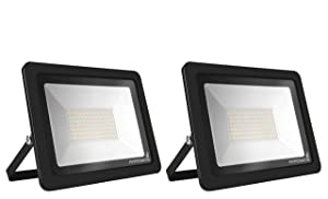 Hyperikon LED Flood Light 100W (500w Eq.) 180° Rotatable Bracket, 5000k, 8000 Lumens, Super Bright Outdoor LED Floodlight, Weatherproof IP65, Suitable for Dry and Damp Locations, 110V, 2-Pack