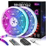 DAYBETTER 65.6ft Led Strip Lights, Lights Strip for Bedroom, Color Changing 5050 RGB Lights, 2 Rolls of 32.8ft LED…