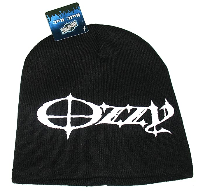 Amazon.com  Officially Licensed Ozzy Osborne Black White Knit Beanie ... fd441040645