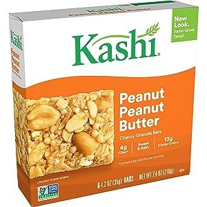 Kashi, Chewy Granola Bars, Peanut Peanut Butter, Vegan, 7.4oz Box (6 Count)