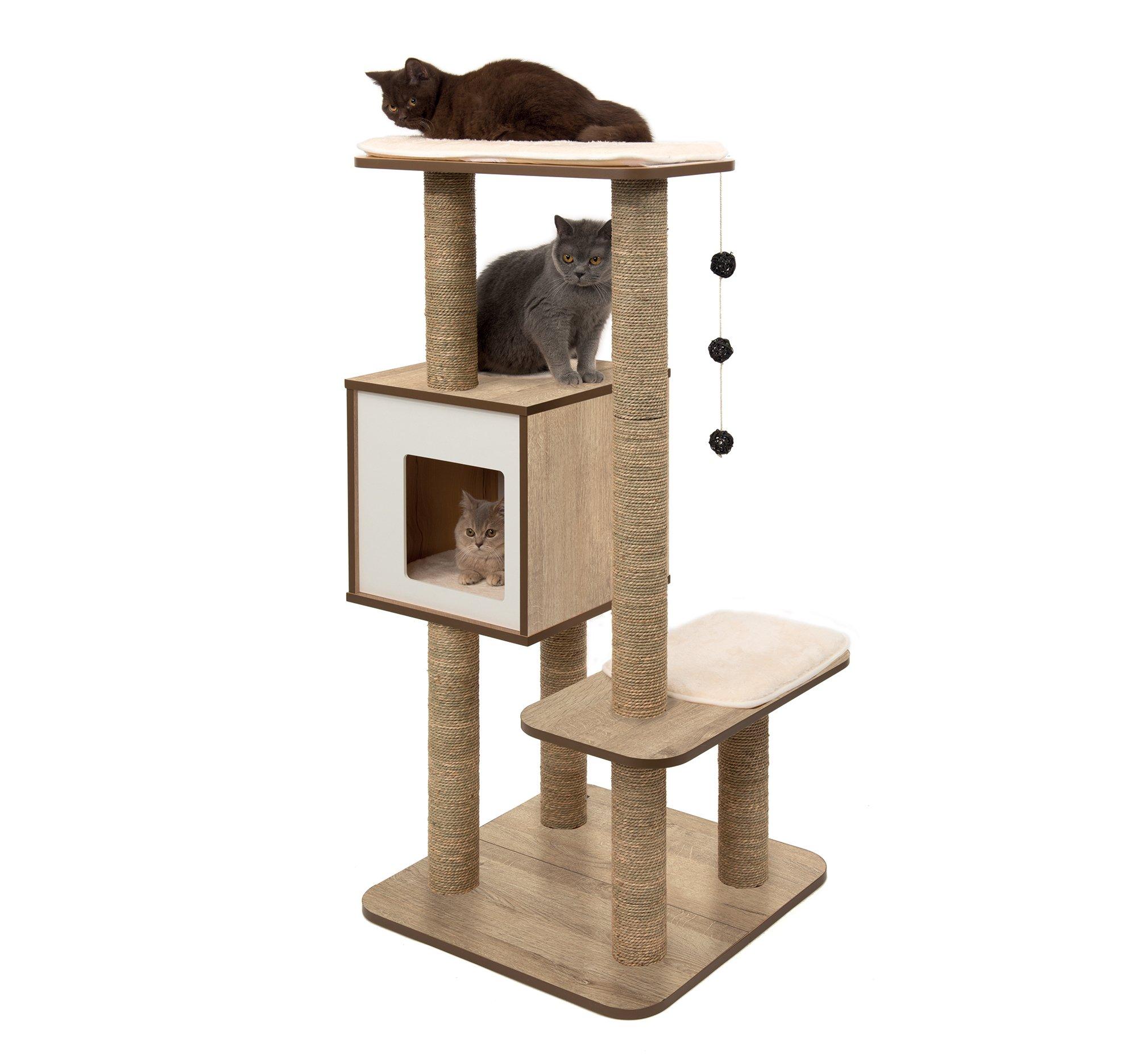 Vesper Cat Tree Scratching Post with Condo - Oak Furniture by Vesper