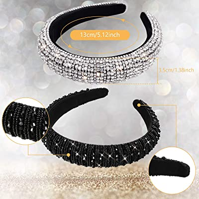Double Row Grey Silver Embellished Headband Rhinestone Jewelled Hairband Multi