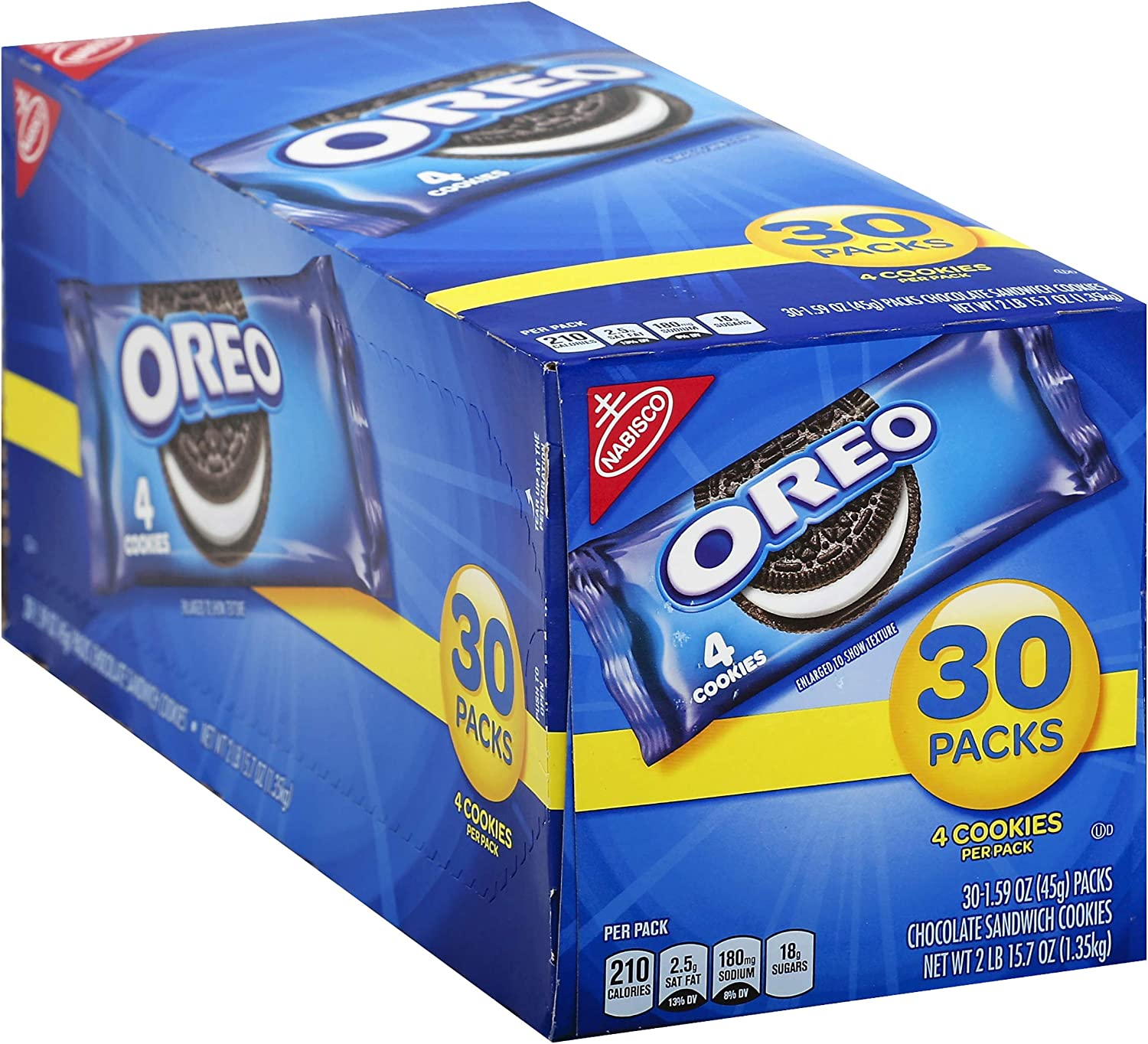 Oreo Chocolate Sandwich Cookies, 30-1.59 oz Snack Packs