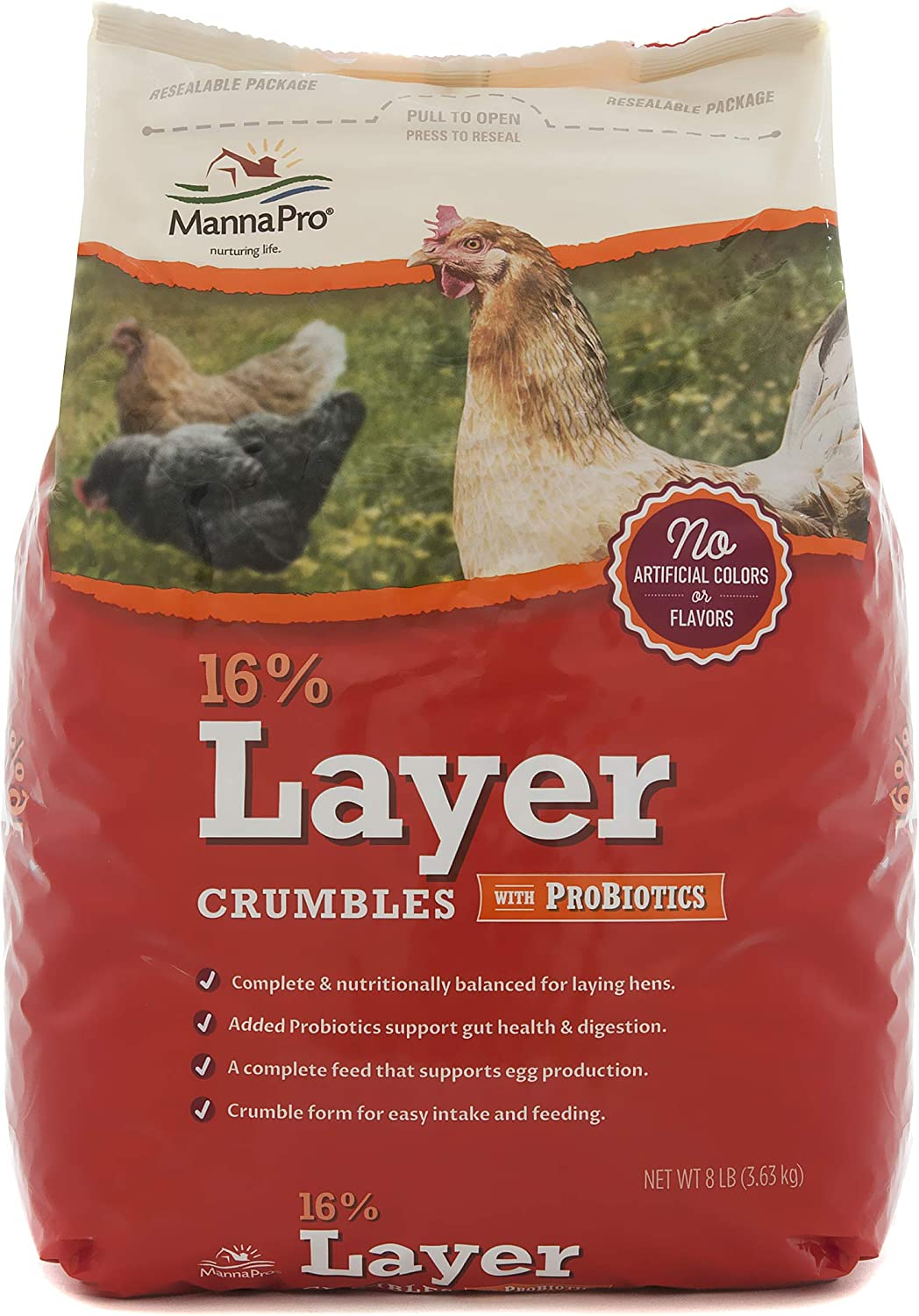 Manna Pro 16% Layer with Probiotic Crumble, 8 lb