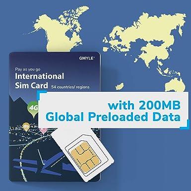 GMYLE SIM Starter Kit, Tarjeta SIM de Viaje Internacional ...