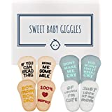 Baby Socks Gift Set - Unique Baby Shower or Funny Newborn Present   Cute Quotes 4 Pair