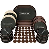 Furniture Sliders X-PROTECTOR - Giant Pack 56 PCS - 20 pcs Furniture Sliders for Carpet & Felt Sliders + 36 Furniture Pads. Best Set of Reusable Furniture Movers Sliders for All Surfaces!