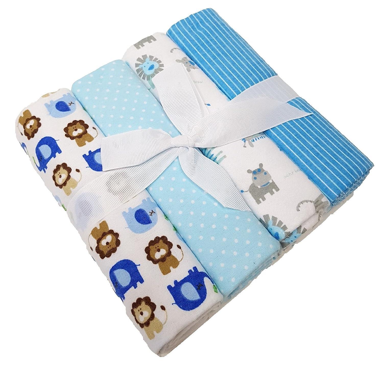 Baby Moltontuch Spuckt/ücher 4er Hochwertiges Gr/ö/ße 76x76 cm 100/% Baumwolle Blau