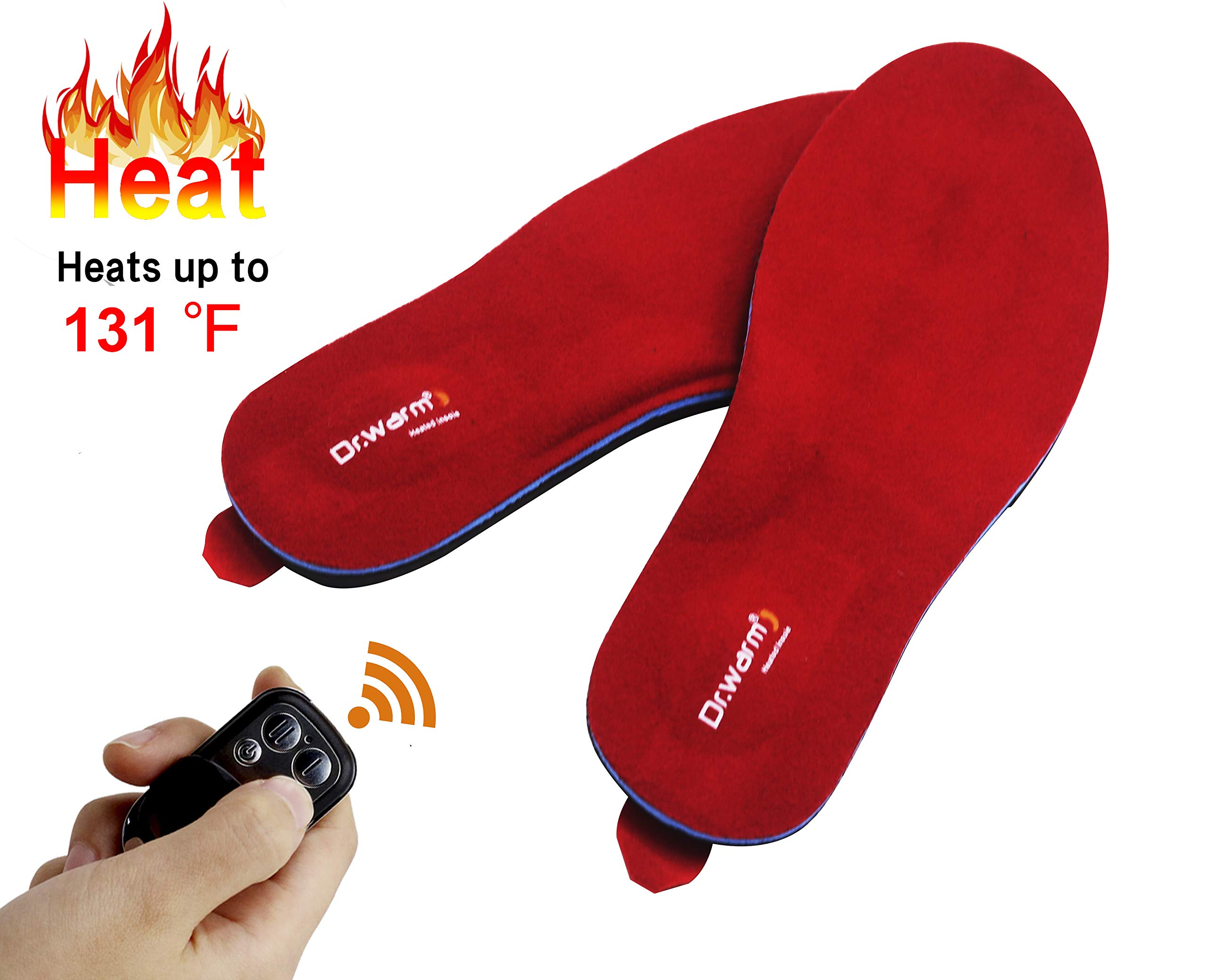 Dr.warm Rechargeable Heated Insole with Remote Control Switch Wireless Foot Warmer for Hunting Fishing Hiking Camping Unisex [L] by Dr.warm