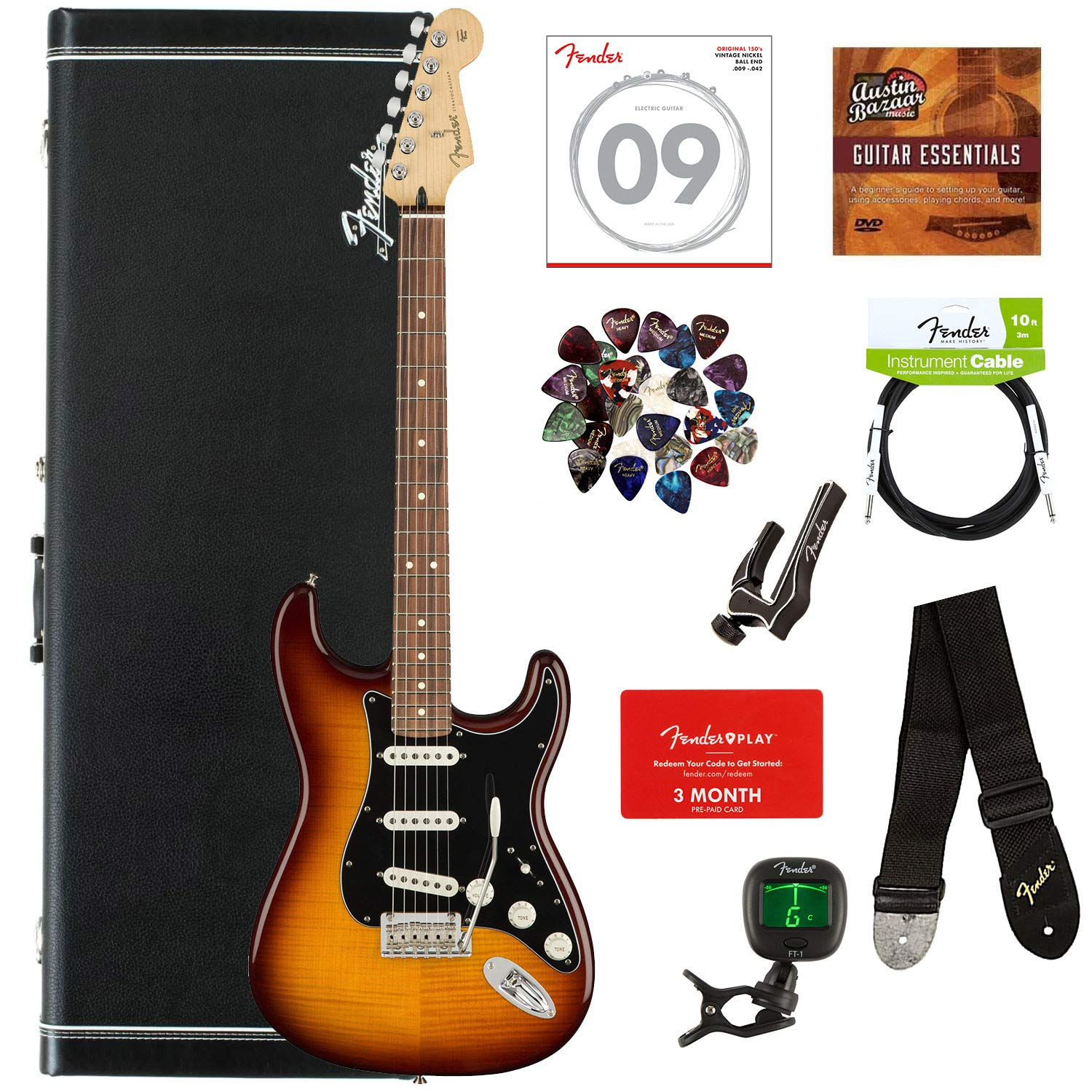 6d6fe6a91f Fender Player Stratocaster HSS, Pau Ferro - Sage Green Metallic Bundle with Hard  Case, Cable, Tuner, Strap, Strings, Picks, Capo, Fender Play Online Lessons  ...