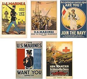 Insire WW1 Poster Prints | Set of Five 8x10 World War 1 Propaganda Prints | Vintage Wall Art | Recruitment Posters | Set 1