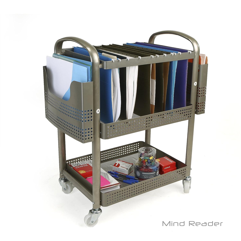 Mind Reader Heavy Duty Metal Mobile File Cart, Silver EMS Mind Reader LLC MFILEC-SIL