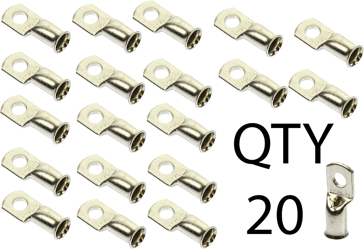 """QTY 20pcs 1 AWG gauge 3//8/"""" non-insulated copper Ring Terminal Lug"""