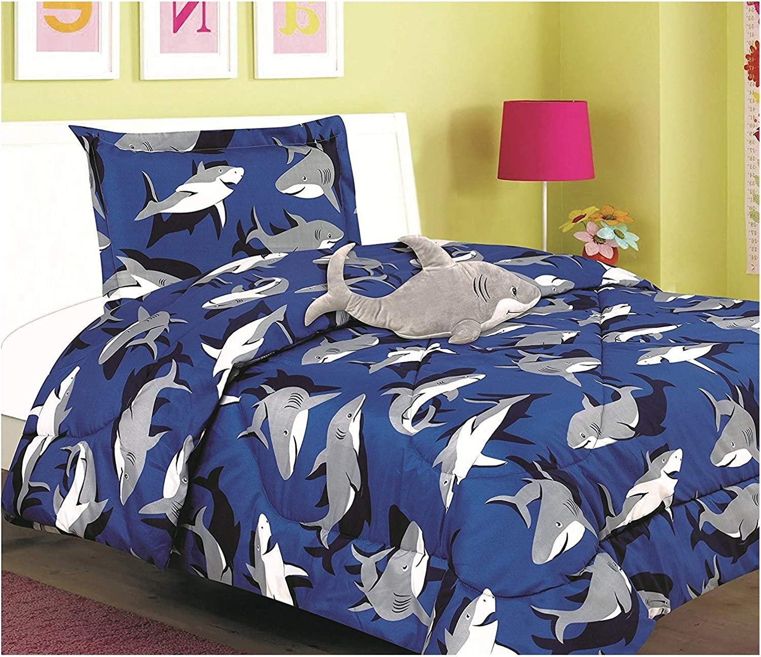 All American Collection New 3pc Childrens Comforter Set with Furry Toy Twin, SHARK